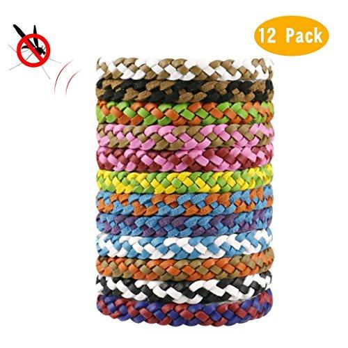 12 pack pulsera repelente de mosquito banda de cuero