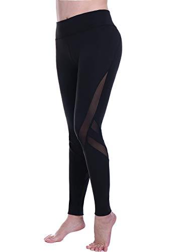 Mallas pantalones deportivos leggings mujer yoga de alta cintura elásticos y transpirables para yoga running fitness con gran elásticosg39k #8-negro medium