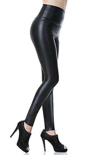 Mujeres pu leggins cuero skinny elásticos pantalones negro medio