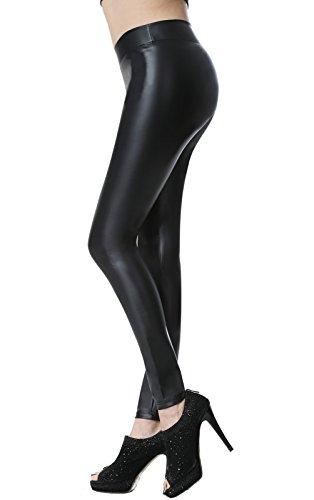 Leggins cuero pantalón elastico negro para mujer negro pequeña