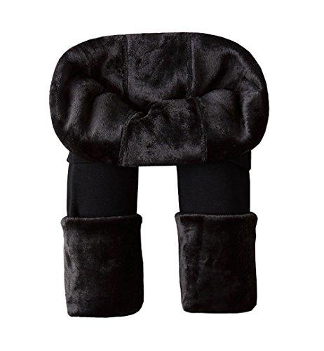 Legging gruesa elástica térmicos forro polar para mujer negro