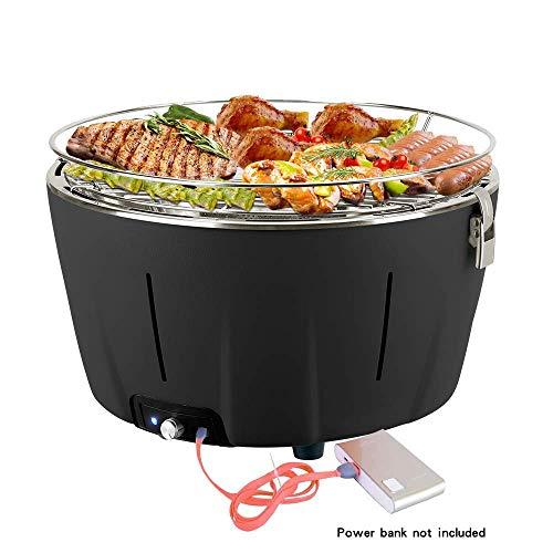 Barbacoa de carbón sin humo barbacoa mesa grill carbón vegetal barbacoa de carbón con ventilación y bolsa 34 x 34 x 21 cm negro