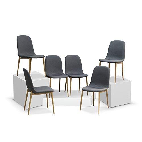 Retro sillas de comedor juego de sillas de tela con patas de metal imitación madera