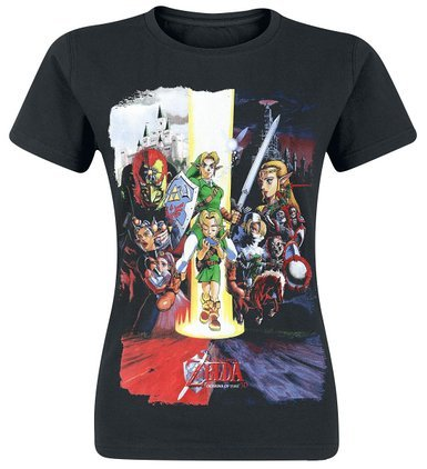 Legend of zelda nintendo legend of zelda women's ocarina of time cast print t-shirt-camiseta mujer