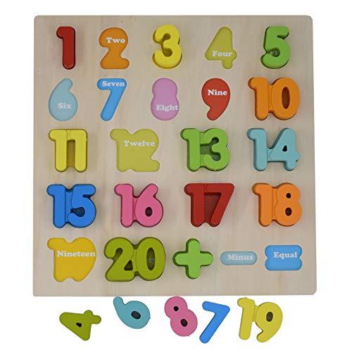 Bebé rock número de madera que aprende jigsaw puzzle board shape numbers puzzle toy para niños 23 piezas