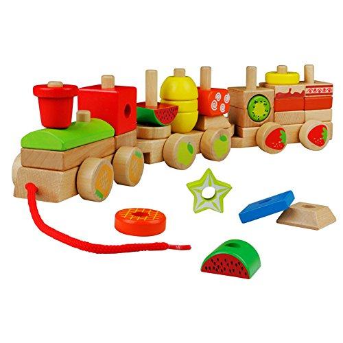 Tren de madera juguete para arrastrar con fruta y tarta bloques construcción para niños bebé 2 3 4 5 años