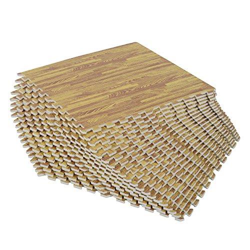 Alfombra puzzle madera para niños o gimnasio con 24 piezas antideslizantes de goma espuma eva