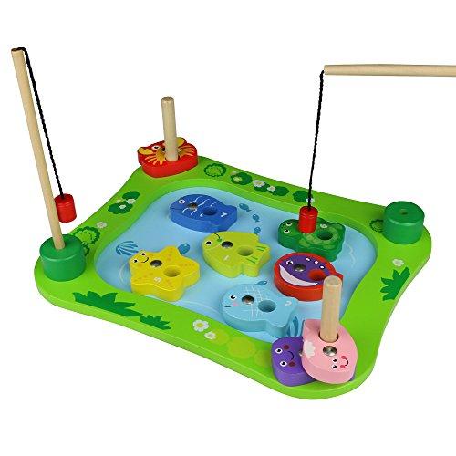 Juego juguete de pesca juguetes de madera educativos magneticos pesca de desarrollo educativo temprano para niños de 3