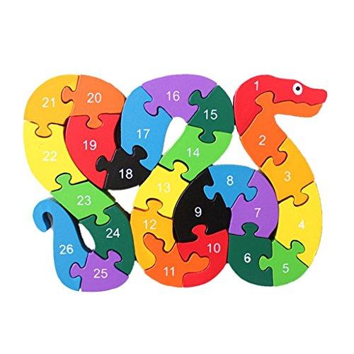 Colorido de madera juguetes educativos puzzle serpiente del alfabeto bloques de construcción para niños