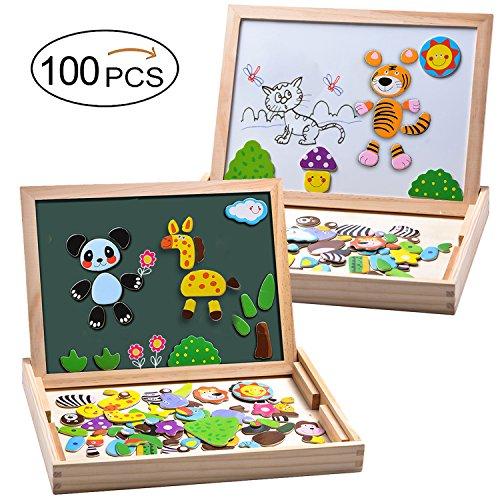 Puzzles de madera magnético pizarra 100 piezas juguetes educativos tablero de dibujo magnético doble cara para niños de 3+
