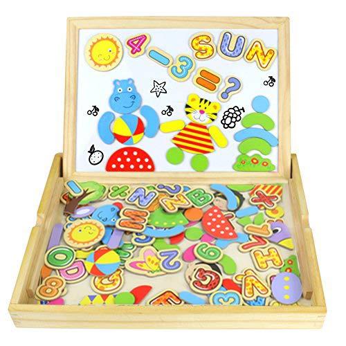 Tablero magnético de dibujo de madera de doble cara tablero magnético puzzle juegos de rompecabezas magnéticos de madera juguetes educativos para niños 100 piezas
