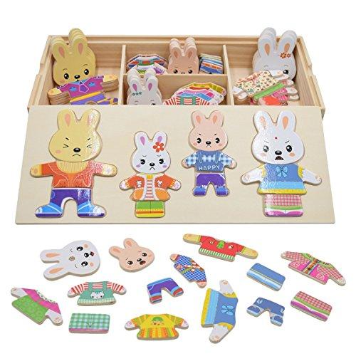 Rompecabezas de vestir juguetes puzzles osos conejos cambiar la ropa diy para madera juego para niñas niños bebés de dress up toy de 3 años y más 72 piezas conejo