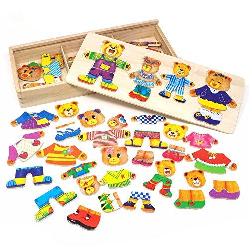 Puzzle de madera juguetes para niñas familia del oso juegos de vestir para niños con estuche de almacenamiento