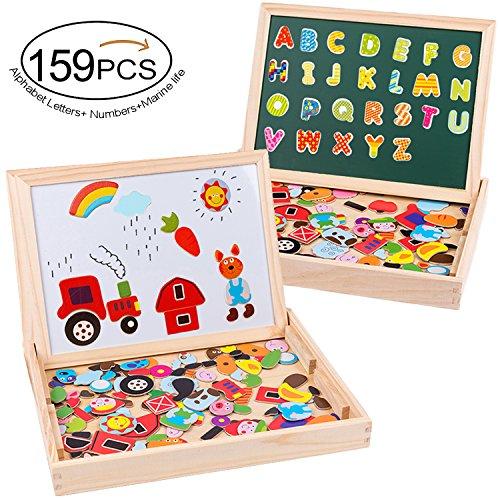 Puzzles rompecabezas magnéticos de madera 159 pcs tablero de dibujo juguete educativo de doble cara para niños 3+–granja