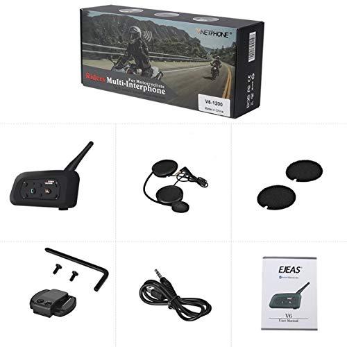 Vnetphone 800m casco de la motocicleta bluetooth walkie talkie auricular bluetooth v6 un solo paquete auricular bluetooth duradero