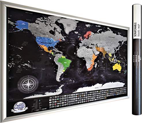 Detallada scratchable viajes mapa con 196 país banderas