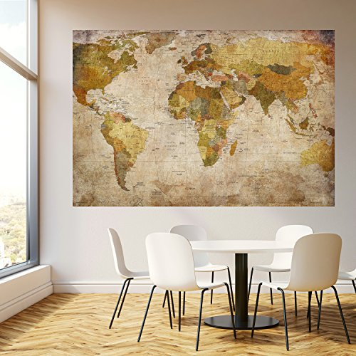 Papel pintado mapa mundi 183 x 127 cm vintage histórico viejo países worldmap fotomurales incluyendo pegamento