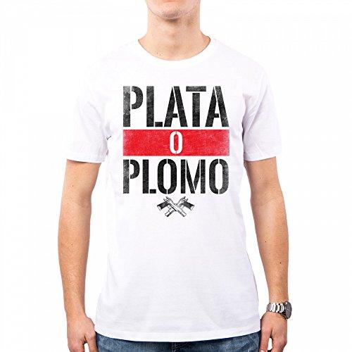 Camiseta hombre narcos serie tv plomo o plata pablo escobar anni 80 80s pd0018a
