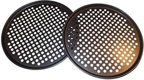 Pack de 2 bandejas de 33 cm para pizza con agujeros