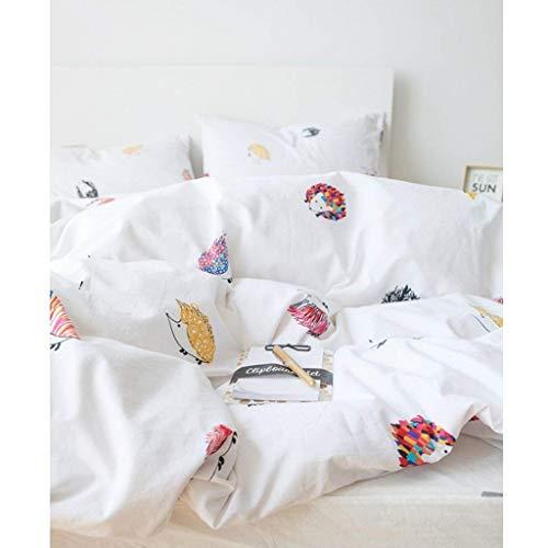 Moderno patrón de dibujos animados de erizo blanco funda de edredón de algodón simple moderna funda de edredón de estudiantes