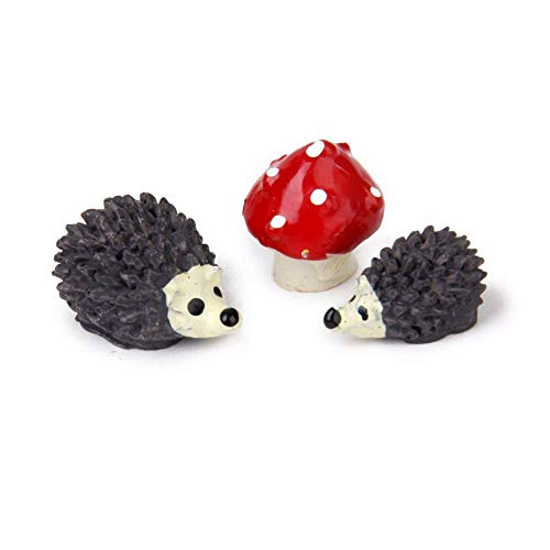 3 erizos de resina de las pc mini bonsai y casa miniatura hada de la seta del paisaje del jardín decoración de jardín craft juguetes y juegos