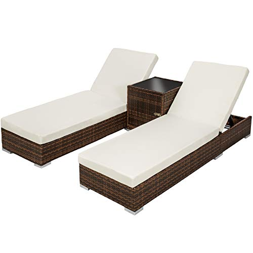 2x tumbona chaise longue de aluminio poli ratán