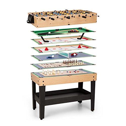 Game-star mesa de juegos mesa multifunción incluye 15 juegos diferentes futbolín patas de la mesa con altura regulable reglas de juego detalladas medidas: 105 x 71 x 58 cm