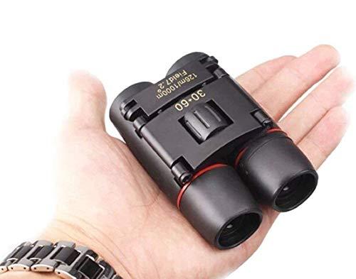 Prismáticos pequeños compactos de 30×60 potente telescopio vision nocturna plegable con paño limpio y funda ligero bolsillo prismáticos para adultos
