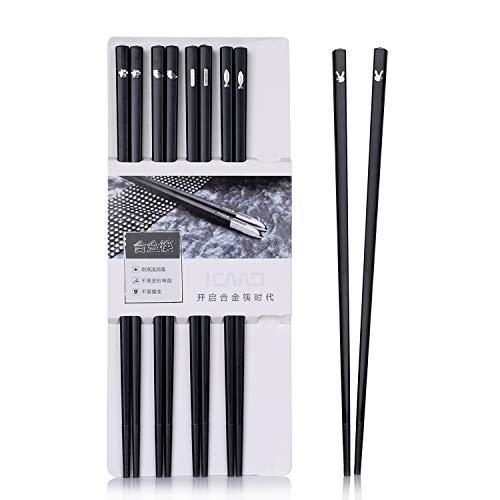 Sillas de comedor japonés 5 pares de palillos de aleación reutilizables  estantes de comedor lavables para lavar vajilla set de vajilla con estilo  ...