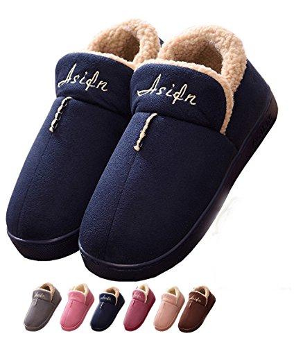 Zapatillas casa interior hombre fieltro antideslizante lana cálido invierno algodón calientes forro zapatos