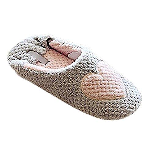 Minetom mujer zapatillas calientes otoño invierno pantuflas de interior suave zapatilla de estar por casa gris 38