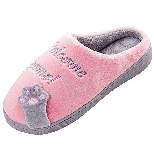 Zapatillas de estar por casa mujer hombre invierno interior caliente suave antideslizante cartoon slippers pink 36/37
