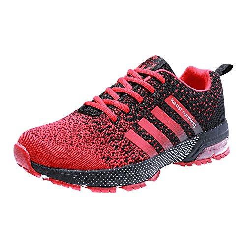 Zapatillas deporte hombre zapatos para correr athletic cordones air cushion 3cm running sports sneakers negro negro-blanco azul rojo rojo 41
