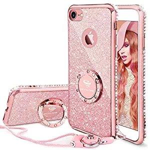 Fundas para iphone 7/iphone 8,purpurina fundas carcasa con anillo para mujer