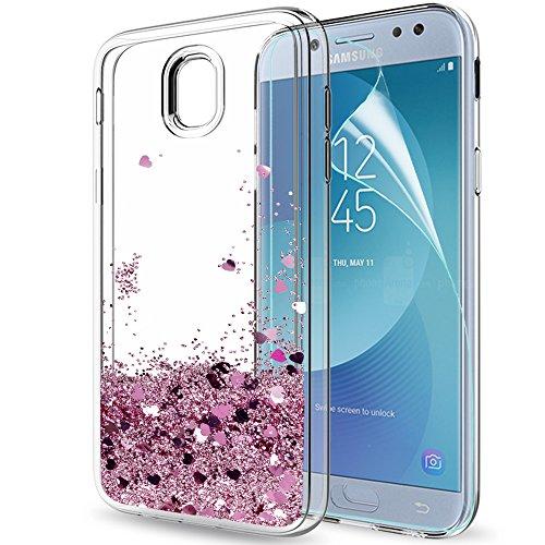Compatible con funda samsung galaxy j5 2017 purpurina carcasa con hd protectores de pantalla