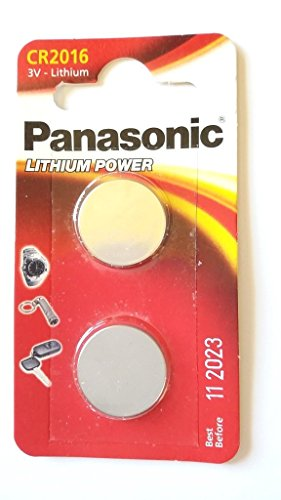 Pack of 2 lithium cr2016 3v batteries coin cell multi-purpose new by panasonic