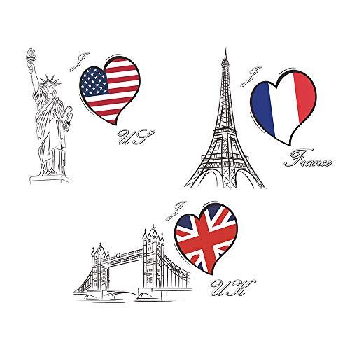3d vinilo forma de corazón bandera del país pegatinas pared torre eiffel estatua de la libertad puente de la torre pegatinas pared desmontable decorativos adhesivos para sala de estar dormitorio