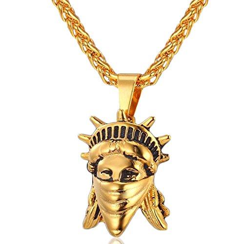 Rebelde estatua de libertad cabeza collar para hombre chapado en 18ct oro con 50-55 cm longitud ajustable