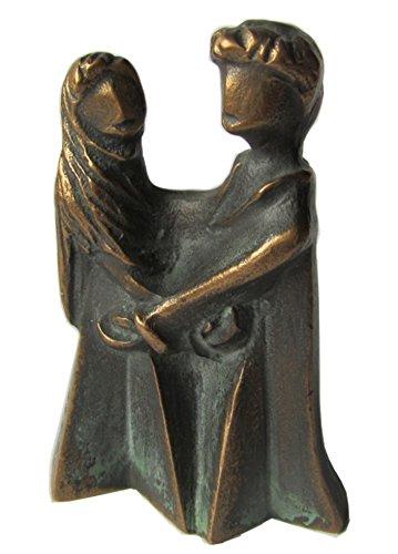 Escultura estatua figura familia talismán 7 cm bronce noble patina verde