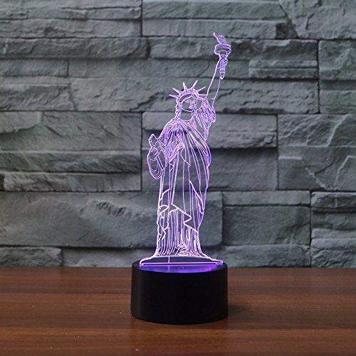 3d llevó la luz de la noche del cambio de los colores de la lámpara de deco del escritorio de la tabla de la ilusión 7 para la decoración casera del dormitorio