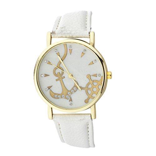 Lux accesorios oro blanco tono náuticas ancla y barco rueda reloj cara reloj