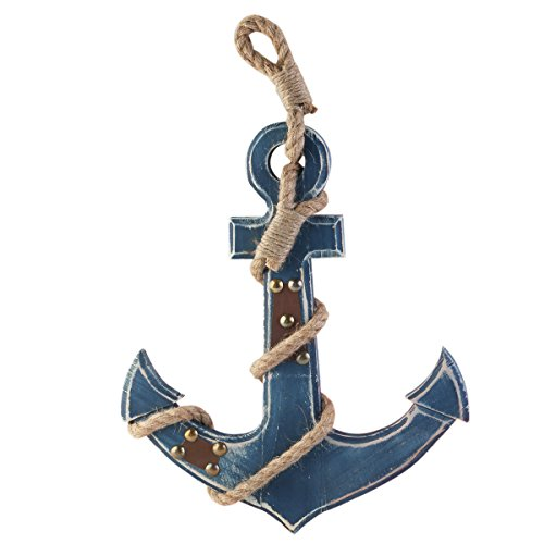 Estilo mediterráneo ancla náutica azul colgando de la pared decoración de la madera