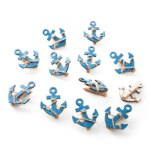 12 pieza azul madera ancla deko grapas con 5,5 x 4,5 cm; bonita pinzas para cerrar bolsas