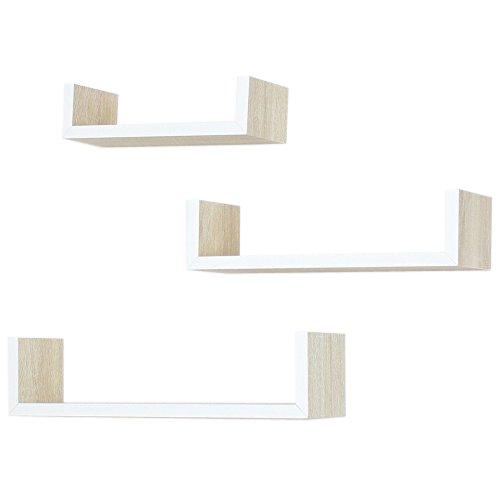"""'estante de pared """"natural de madera natural en el juego de 3"""