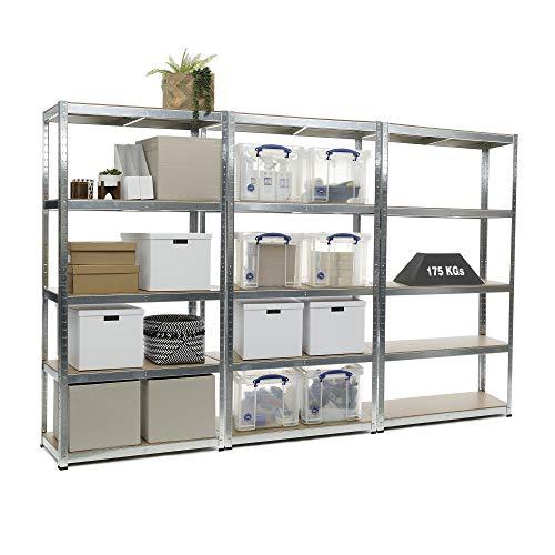 Estantería resistente de 3 compartimentos galvanizados para garaje de 175 kg de carga por estante