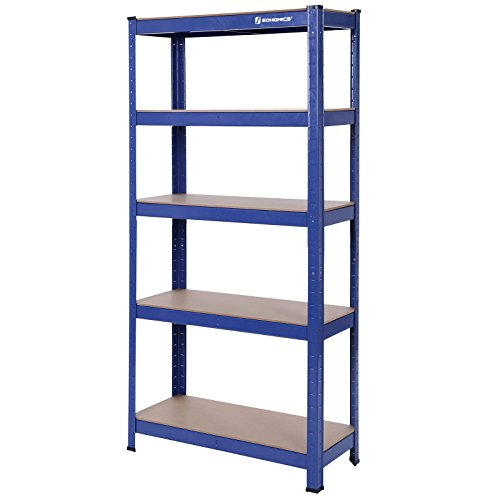 Estantería metálica para almacenar de pie 5 estantes 650 kg 75 x 30 x 150 cm glr30q