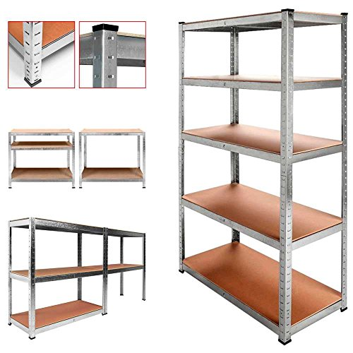 Estanteria metalica galvanizada 875kg 5 baldas 180 x 90 x 40 cm ideal garaje