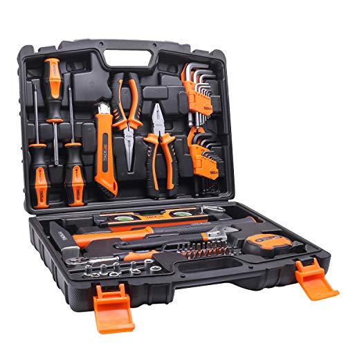 Caja de herramientas tacklife de 68 piezas ideal para reparaciones del hogar y proyectos diy