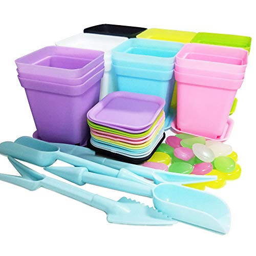 21 paquetes macetas de plástico coloridas cuadradas con paletas/bandejas para plantas y flores de balcón jardín oficina