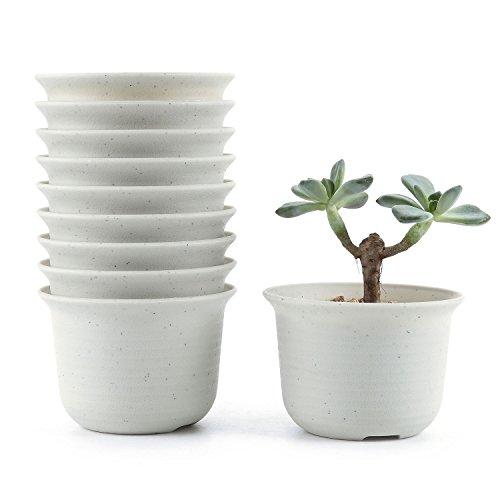 Conjunto de 10 ronda de plástico plastico planta maceta suculento cactus planta maceta planta contenedor vivero maceta macetas de jardín macetas envase